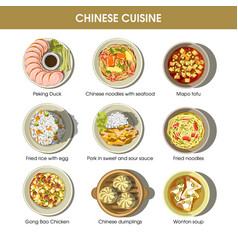 Chinese cuisine menu traditional dishes vector