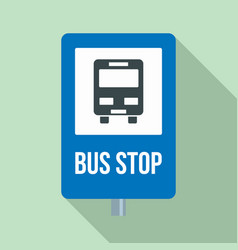 city bus stop sign icon flat style vector image