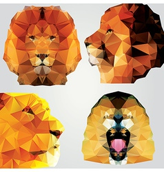 collection 4 geometric polygon lions pattern vector image