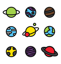 colorful planets bright icons isolated universe vector image