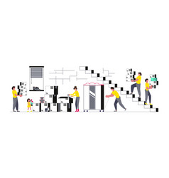 Concept family with kids moving vector