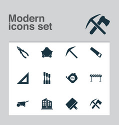 construction icons set with building cart pliers vector image