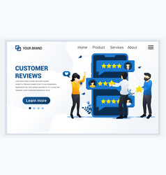 Customer reviews concept people giving stars vector