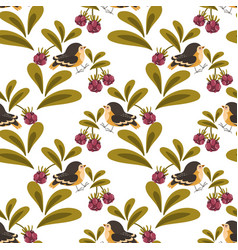 cute bird and berries seamless pattern vector image