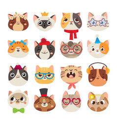Cute cats heads cat muzzle domestic kitty face vector