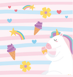cute magical unicorn eating cupcake with ice cream vector image