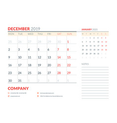 December 2019 week starts on monday calendar vector