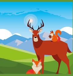 Deer fox and squirrel happy autumn season vector
