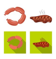 Design of meat and ham icon collection of vector