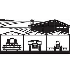 farm yard with agricultural machinery vector image