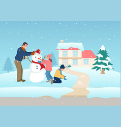 father playing with his children on winter time vector image