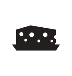 Flat icon in black and white Dutch cheese vector