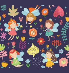 Floral fairies seamless pattern vector