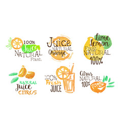 fresh natural citrus juice labels set orange vector image
