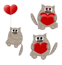 Funny animals with heart vector