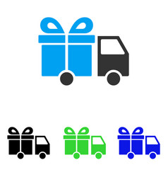 Gift delivery van flat icon vector