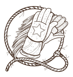 Gloves for horse riding and lasso outline drawing vector