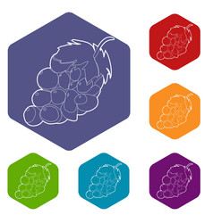 Grape icon outline style vector