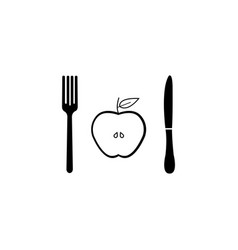 Half apple with fork andknife solid icon vector
