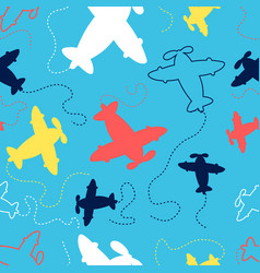 Hand drawing airplane seamless pattern print vector