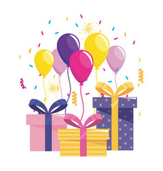 Happy birthday gifts and balloons design vector