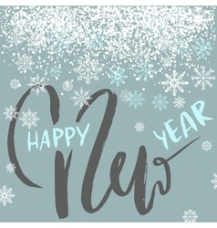 Happy New Year lettering design with white vector image
