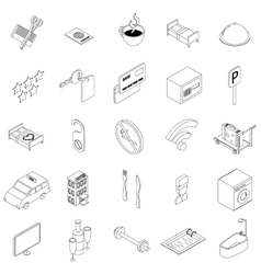 Hotel icons set isometric 3d style vector image