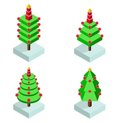 Isometric christmas tree icon set vector image
