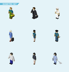 Isometric person set of girl policewoman vector