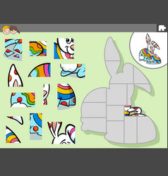 Jigsaw puzzle game with cartoon easter bunny vector
