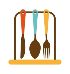 kitchen set cutlery tools icon vector image