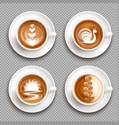 Latte art top view icon set vector