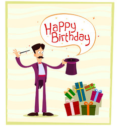 Magician birthday greeting vector