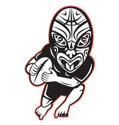 maori rugby player running vector image