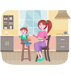 Mother feeding her little daughter sitting in high vector