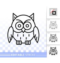 Owl simple black line halloween sign icon vector