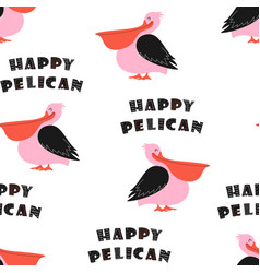 pattern with cute happy pelican vector image