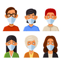 people avatars with protective masks set vector image