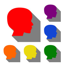 people head sign set of red orange yellow vector image