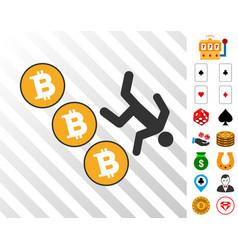 person fall down bitcoins icon with bonus vector image