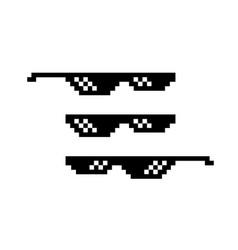 Pixel black sunglasses 8 bit spectacles for vector