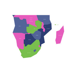 Political map of southern africa region simlified vector