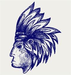 Portrait of american indian vector image