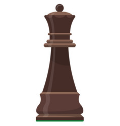 Queen playing chess piece isolated flat vector