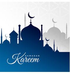 Ramadan kareem background with blue mosque vector