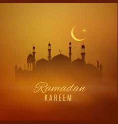 Ramadan kareem holiday arabian mosque eid mubarak vector