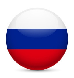 Round glossy icon of russian federation vector image