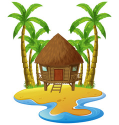 Scene with wooden hut on island vector