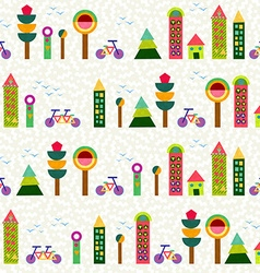 Seamless pattern city background geometry colorful vector