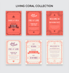 set great quality style invitation in art deco vector image